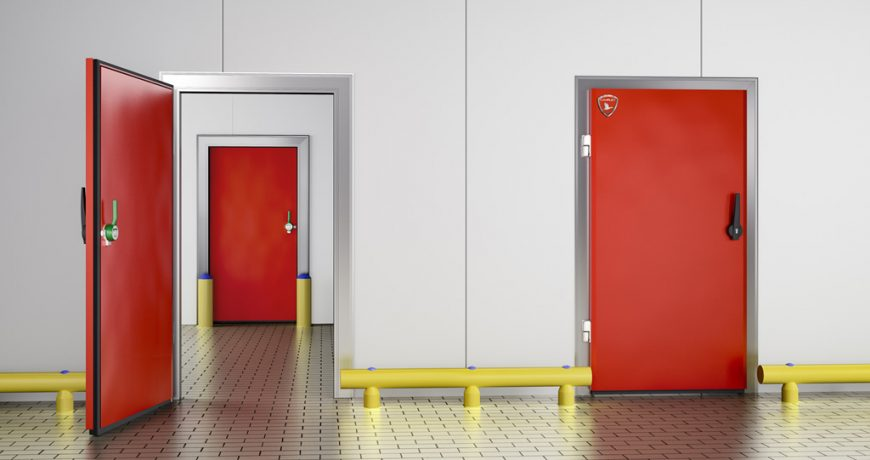 Puerta Frigorífica Pivotante Roja